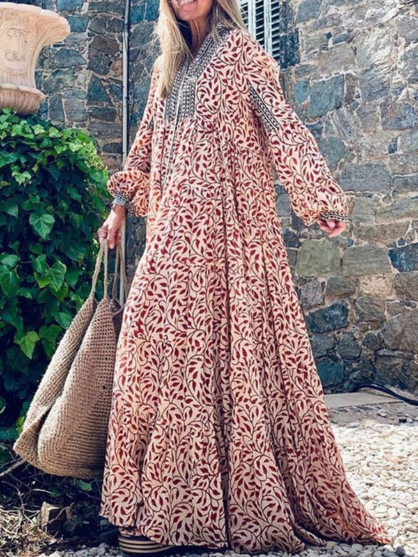 Print Long Sleeve Floor-Length A-Line Spring Dress