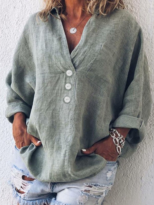 Plain Button V-Neck Long Sleeve Mid-Length Blouse