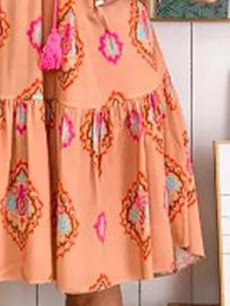 Print Nine Points Sleeve V-Neck Pullover Summer Dress