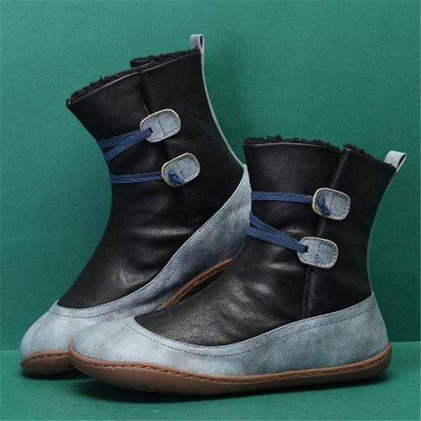 Round Toe Hasp Color Block Casual Thread Boots