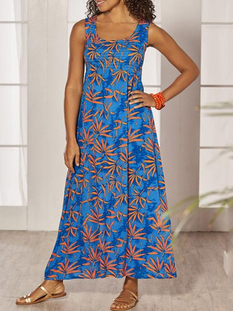 Print Sleeveless Square Neck Plant Travel Look Dress