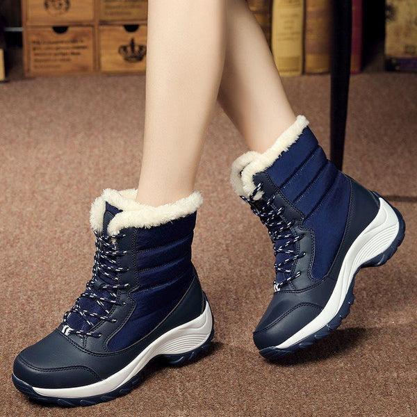 Lace-Up Front Round Toe Plush Casual Boots
