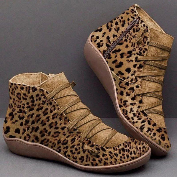 Round Toe Side Zipper Leopard Casual Thread Boots
