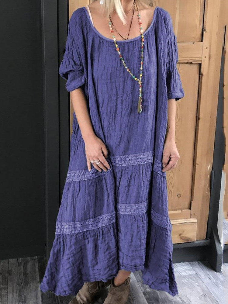 Half Sleeve Ankle-Length Round Neck Casual Pullover Dress