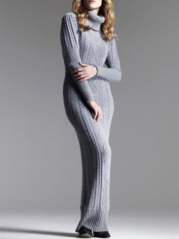 Floor-Length Turtleneck Long Sleeve Plain Pullover Dress