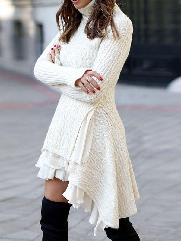 Turtleneck Above Knee Long Sleeve High Waist Asymmetrical Dress
