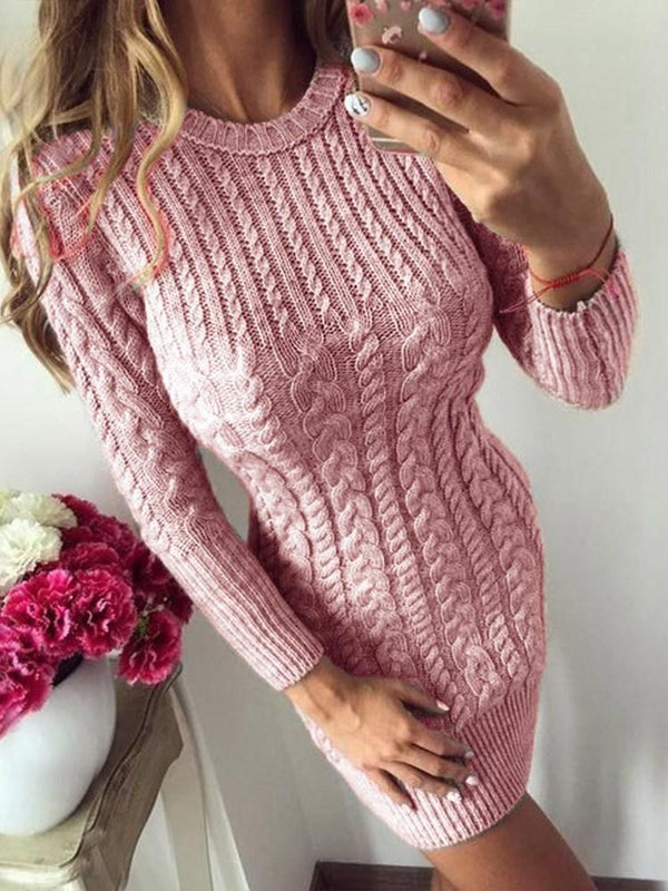 Above Knee Nine Points Sleeve Round Neck Bodycon Pullover Dress