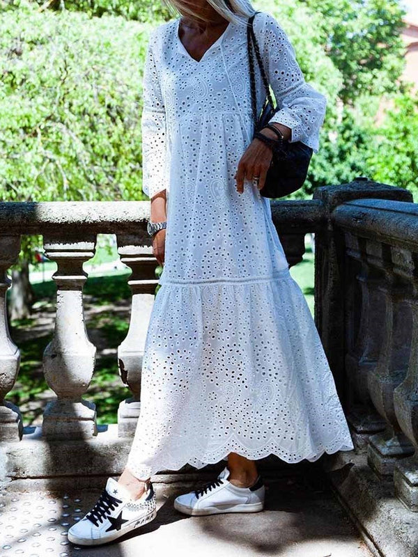 Three-Quarter Sleeve Pleated Ankle-Length Summer A-Line Dress