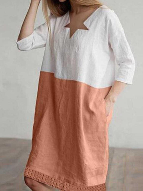 V-Neck Three-Quarter Sleeve Knee-Length Summer Regular Dress