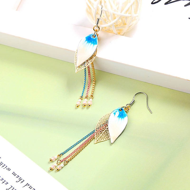 Tassel Color Block Sweet Gift Earrings