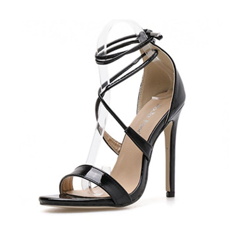 Lace-Up Stiletto Heel Open Toe Heel Covering Plain Sweet Sandals