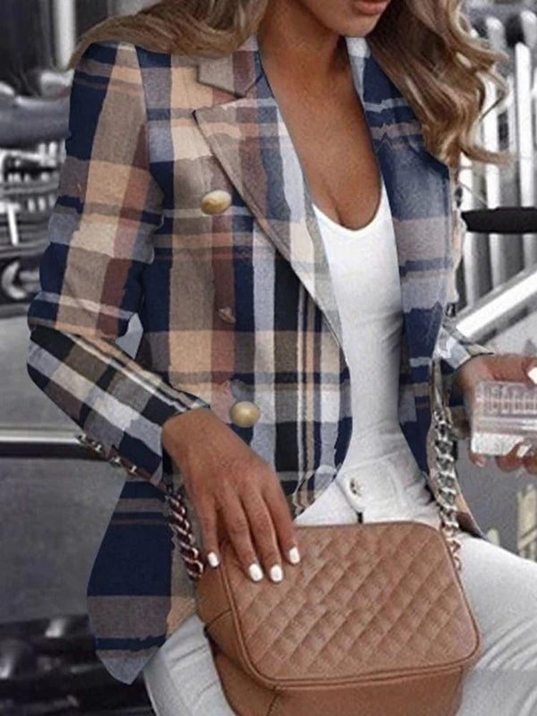 Long Sleeve Notched Lapel Plaid Standard Casual Blazer