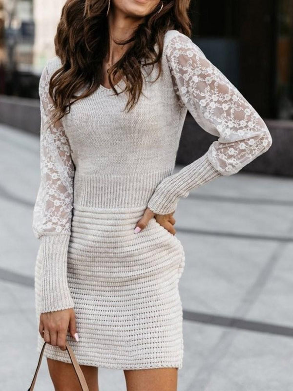 Above Knee Patchwork Long Sleeve Bodycon Pullover Dress