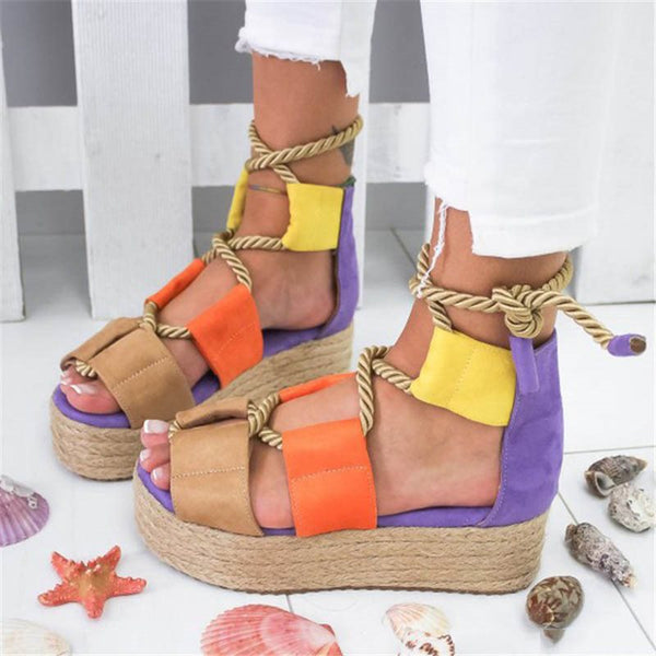 Lace-Up Open Toe Heel Covering Color Block Cross Strap Sandals