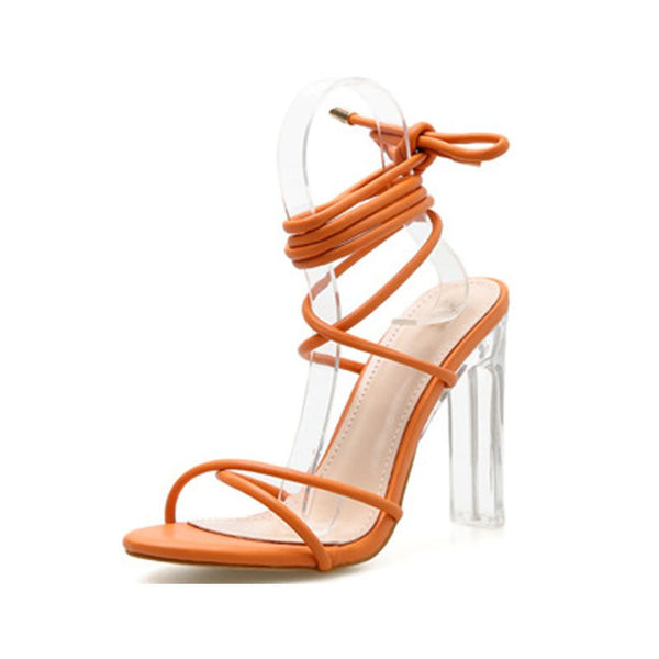 Ankle Strap Lace-Up Chunky Heel Open Toe Hollow High-Cut Upper Sandals