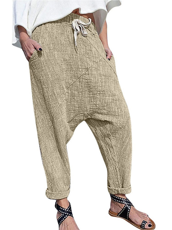Lace-Up Plain Loose Full Length Baggy Pants Casual Pants
