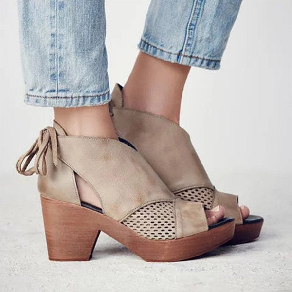 Open Toe Heel Covering Chunky Heel Lace-Up Casual Platform Sandals
