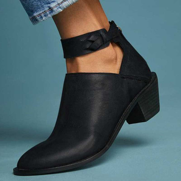 Plain Stiletto Heel Back Zip Pointed Toe Casual Thread Boots