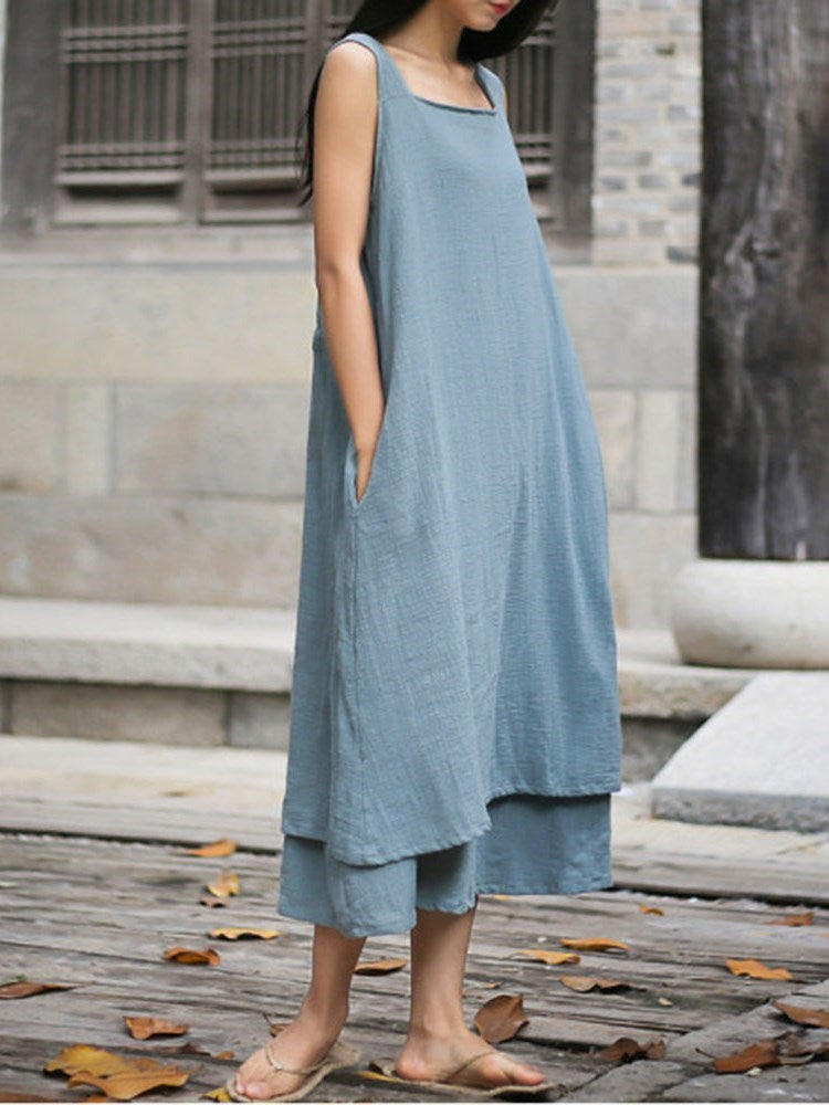 Mid-Calf Sleeveless Lace-Up Pullover Casual Dress