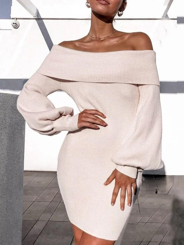 Off Shoulder Above Knee Long Sleeve Plain Bodycon Dress
