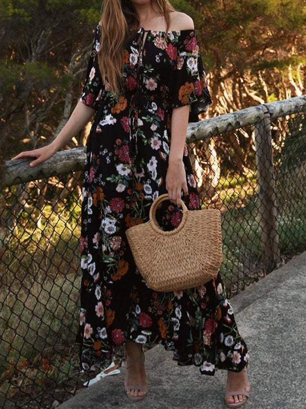 Half Sleeve Ankle-Length Print Country Pullover Dress