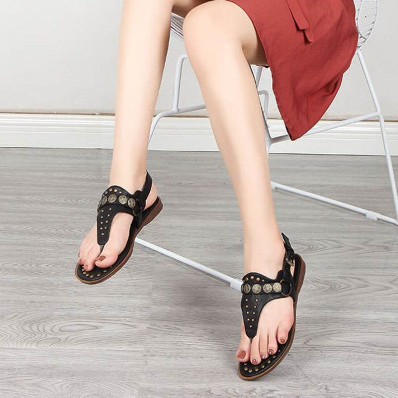 Thong Buckle Wedge Heel Plain Casual Sandals