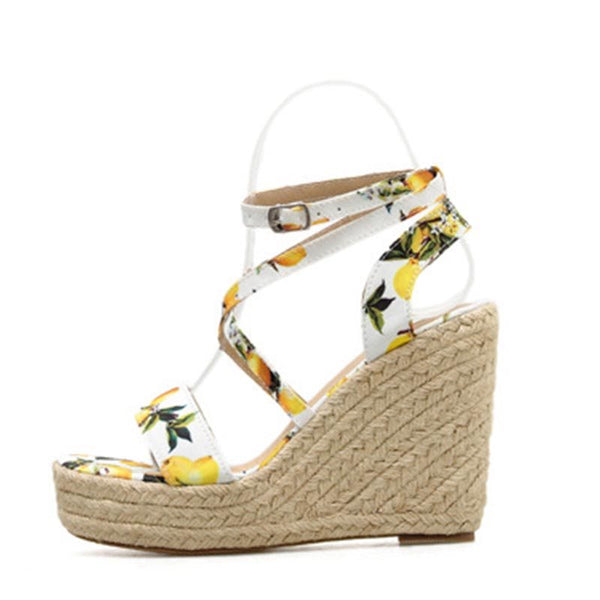Strappy Open Toe Wedge Heel Buckle Casual Low-Cut Upper Sandals