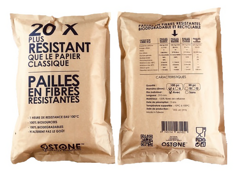 OSTONE 3500 STRAWS 20 TIMES MORE RESISTANT THAN CLASSIC PAPER - SUPER RESISTANT FIBER STRAW - SUPER STRONG PAPER