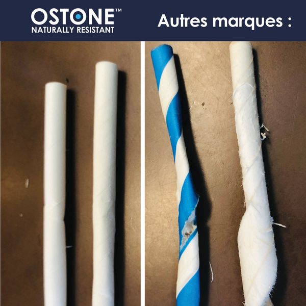 OSTONE super resistant paper straw in hot water