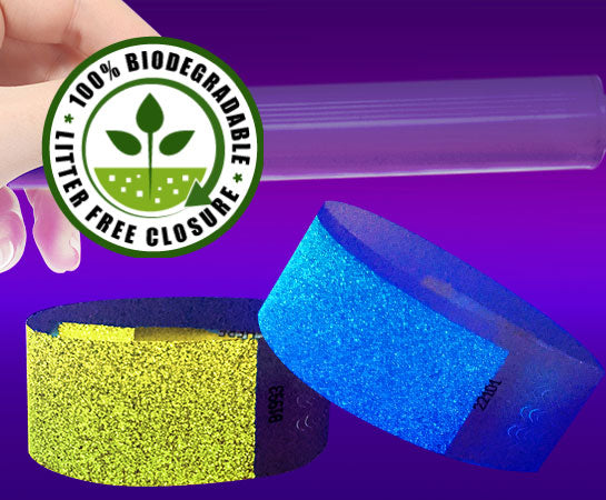 1 inch Genesis Biodegradable Glow Under UV Light Wristbands