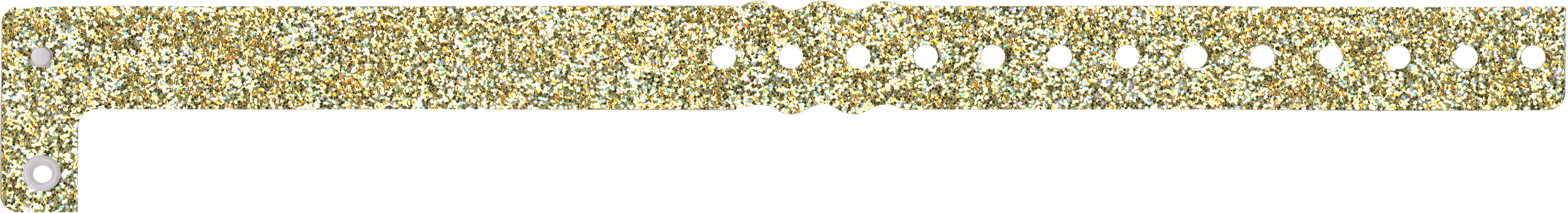 Design your own Plastic L-Shape Sparkle one gold black/white imprint wristband with text, images, clipart and vector shapes