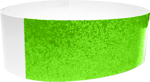 "An Adhesive 1"" X 10"" Sparkle Solid Green wristband"