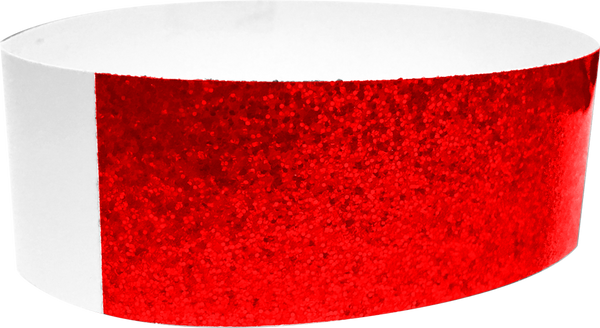 "An Adhesive 1"" X 10"" Sparkle Solid Red wristband"