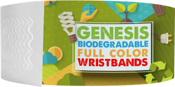 "Custom Genesis 1"" x 10"" Litter Free Biodegradable Full Color Imprint wristbands"