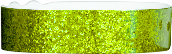 "A Plastic 3/4"" x 10"" Straight Wave Sparkle Snapped Green wristband"