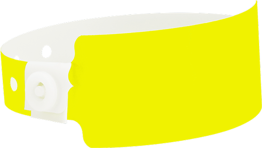A Soft Comfort Wide Face Snapped Solid Neon Yellow wristband