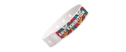 "Custom Soft Comfort Plastic 3/4"" x 10"" L-Shape, Full Color Imprint Snapped Wristbands"