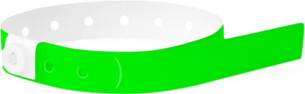 A Soft Comfort L-Shape Snapped Solid Neon Green wristband