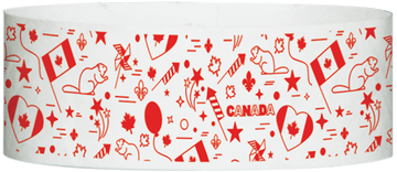 "Tyvek® 1"" x 10""  Canada Celebration pattern wristbands"