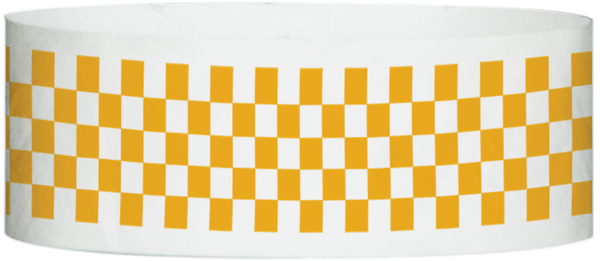 "A Tyvek® 1"" X 10"" Checkerboard Neon Orange wristband"