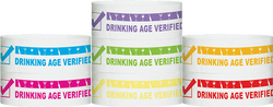 "Tyvek® 1"" x 10""  Drinking Age Verified pattern wristbands"