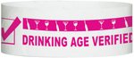 "A Tyvek® 1"" x 10""  Drinking Age Verified Neon Pink wristband"