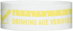 "A Tyvek® 1"" x 10""  Drinking Age Verified Yellow Glow wristband"