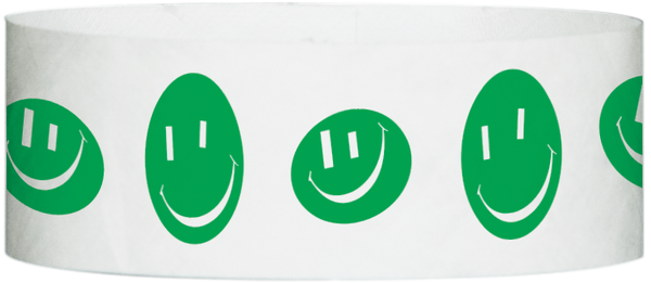 "A Tyvek® 1"" X 10"" Happy Face Green wristband"