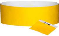 "A 1"" Tyvek® with stub solid Yellow wristband"