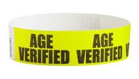 "A Tyvek®  3/4"" x 10"" Sheeted Pattern Age Verified Black wristband"