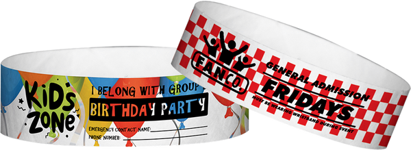"Custom Tyvek® 3/4"" x 10"" Pattern One Color Imprint Wristbands"
