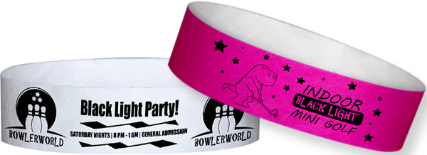 "Custom Tyvek® 3/4"" x 10"" Solid Glow Under Black Light One Color Imprint Wristbands"