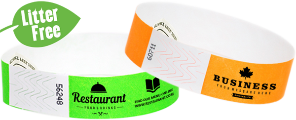 "Custom Litter Free 3/4"" Tyvek® One Color Imprint Wristbands"