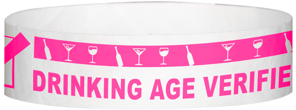 "A Tyvek® 3/4"" X 10"" DAV Drinking Age Verfication Neon Pink wristband"
